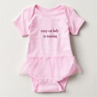Señora loca del gato en el tutú Bodyuit del bebé Body Para Bebé