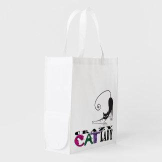 """""""Señora loca del gato"""" en las letras y el bolso 3 Bolsas Reutilizables"""