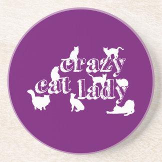 Señora loca del gato en todos los colores posavasos manualidades