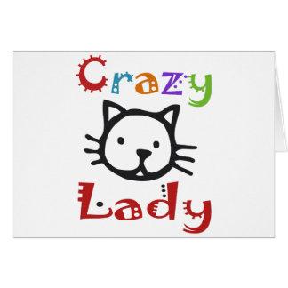 Señora loca del gato felicitacion