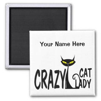 Señora loca del gato imán cuadrado