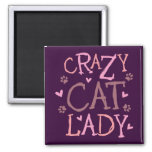 Señora loca del gato imán de nevera