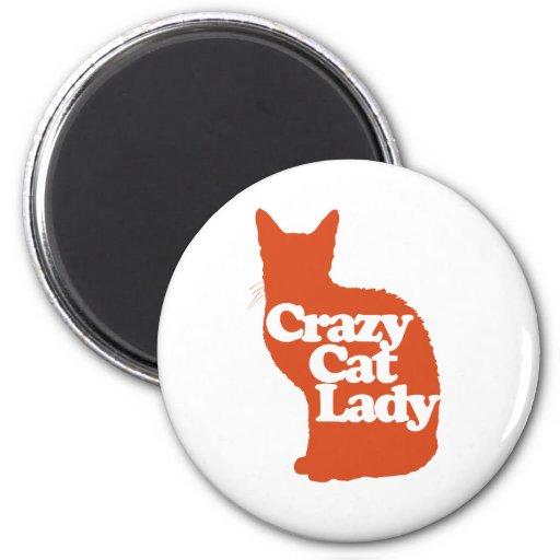 Señora loca del gato imán redondo 5 cm