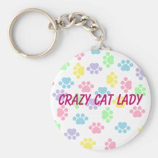 Señora loca del gato - impresiones de la pata - llavero redondo tipo pin