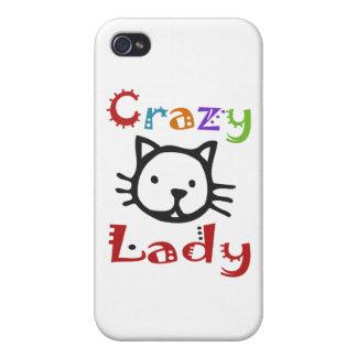 Señora loca del gato iPhone 4 protector