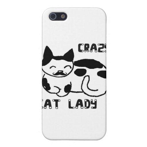 Señora loca del gato iPhone 5 protectores