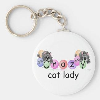 Señora loca del gato llaveros