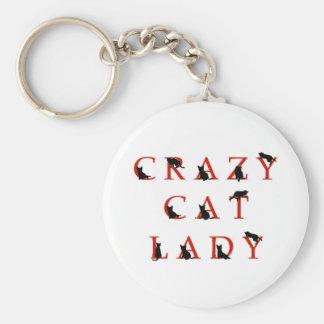 Señora loca del gato llavero personalizado