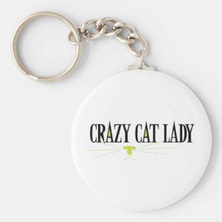 Señora loca del gato llavero redondo tipo pin