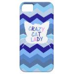 Señora loca del gato - ondas azules de Chevron iPhone 5 Case-Mate Coberturas