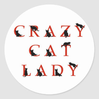 Señora loca del gato pegatinas redondas
