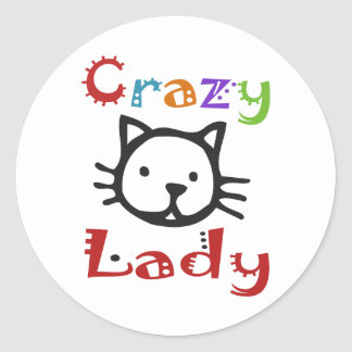 Señora loca del gato pegatina redonda