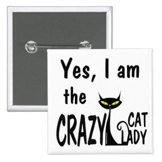 Señora loca del gato pin cuadrado