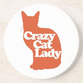 Señora loca del gato posavasos cerveza