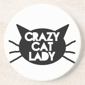 Señora loca del gato posavasos para bebidas
