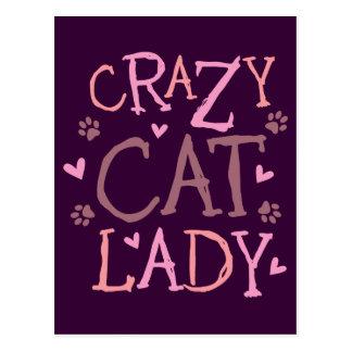 Señora loca del gato postales