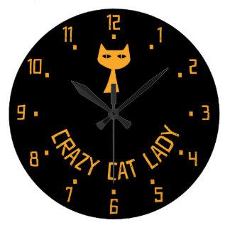 Señora loca del gato relojes