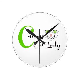 ¡Señora loca del gato Reloj