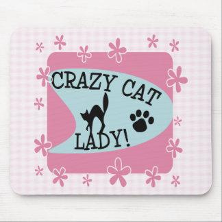 Señora loca del gato - retra tapetes de ratón