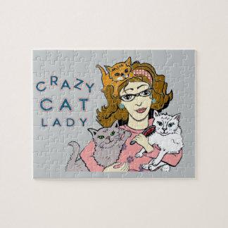 Señora loca del gato rompecabeza con fotos