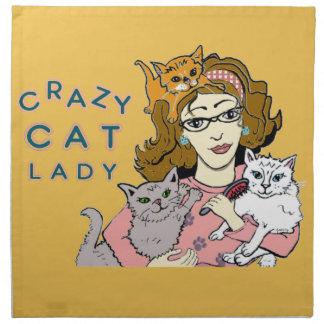 Señora loca del gato servilleta