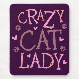 Señora loca del gato alfombrilla de ratón