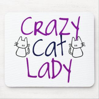 Señora loca del gato tapetes de ratón