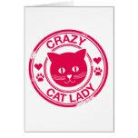Señora loca del gato tarjeta
