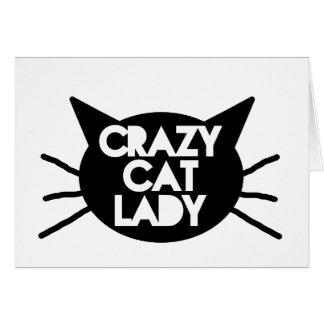 Señora loca del gato tarjeta de felicitación