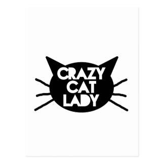 Señora loca del gato tarjeta postal