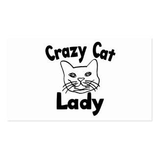 Señora loca del gato tarjetas de visita