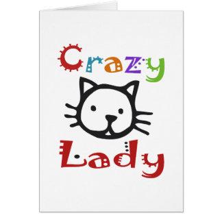 Señora loca del gato tarjetón