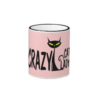 Señora loca del gato taza a dos colores