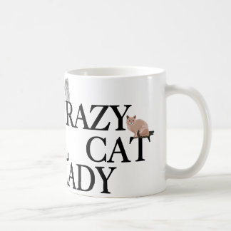 Señora loca del gato tazas de café