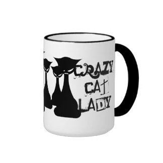 Señora loca del gato taza de dos colores