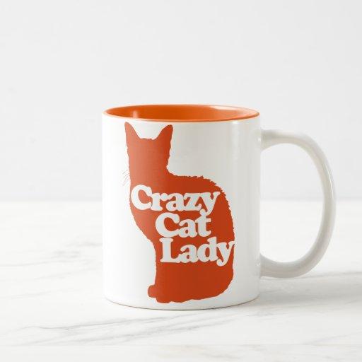 Señora loca del gato taza dos tonos