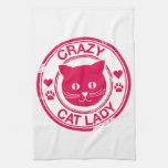 Señora loca del gato toalla
