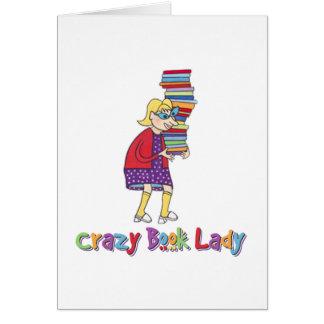 Señora loca del libro tarjeta de felicitación