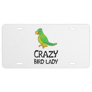 Señora loca del pájaro placa de matrícula