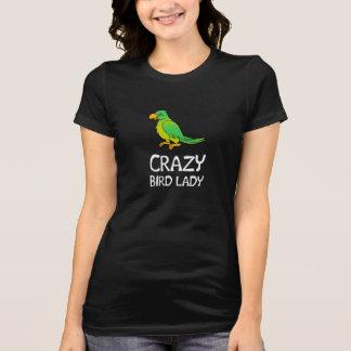 Señora loca del pájaro playeras