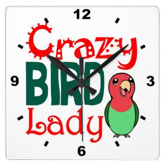 Señora loca del pájaro reloj cuadrado