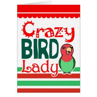 Señora loca del pájaro tarjeta de felicitación
