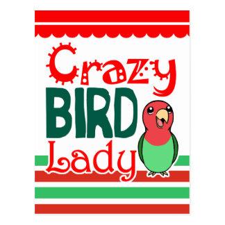 Señora loca del pájaro tarjetas postales