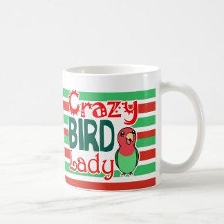 Señora loca del pájaro taza básica blanca
