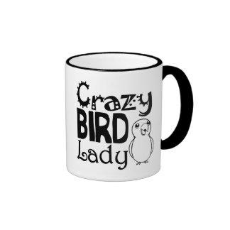 Señora loca del pájaro taza de dos colores