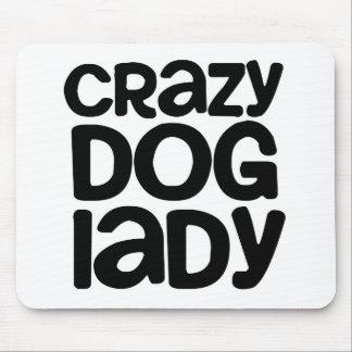 Señora loca del perro alfombrilla de raton