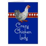 Señora loca del pollo (bleu) tarjeta