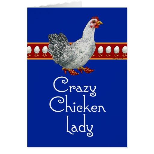 Señora loca del pollo (bleu) tarjeta de felicitación