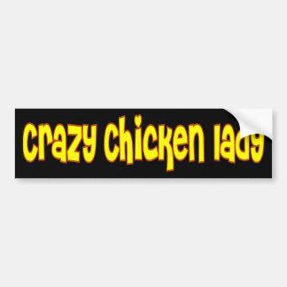 Señora loca del pollo pegatina para auto