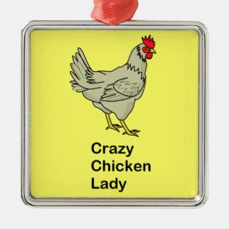 Señora loca del pollo ornamento para arbol de navidad